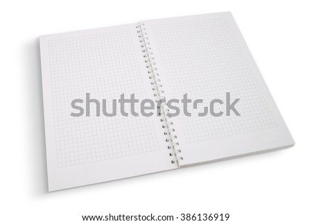 Open blank page notebook on white with clipping path - stock photo