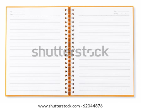 open blank page yellower note book