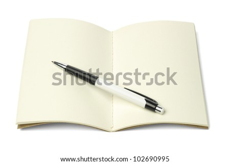Open Blank Thread Sew Book and Ballpoint Pen on White Background