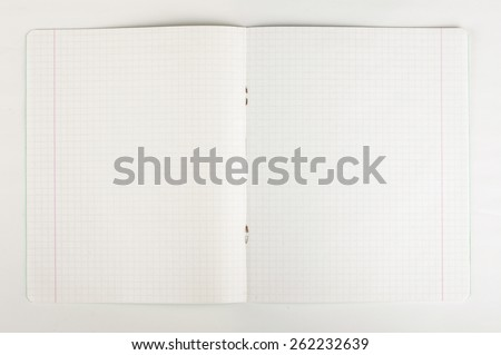 Open blank vintage exercise book isolated - stock photo