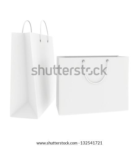 open blank white shopping bags - stock photo