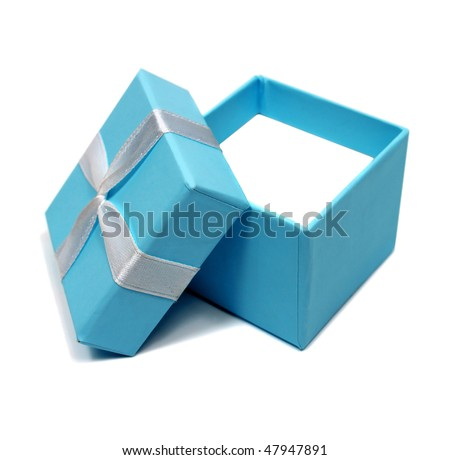 open blue box for gifts isolated on white background - stock photo