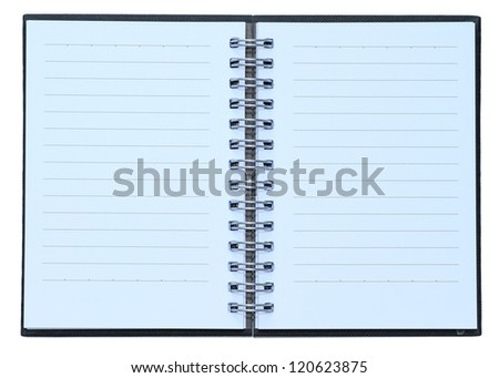 Open blue cover notebook - stock photo