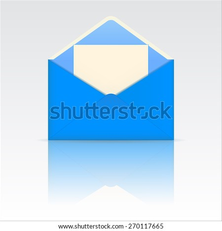 Open blue envelope with blank paper with reflection. Raster version - stock photo
