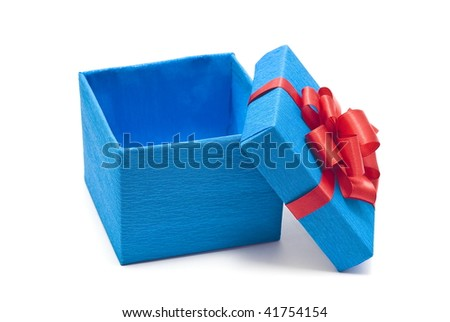 Open blue gift box with red bow - stock photo