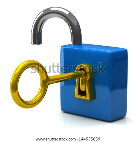 Open blue pad lock with key, 3d icon