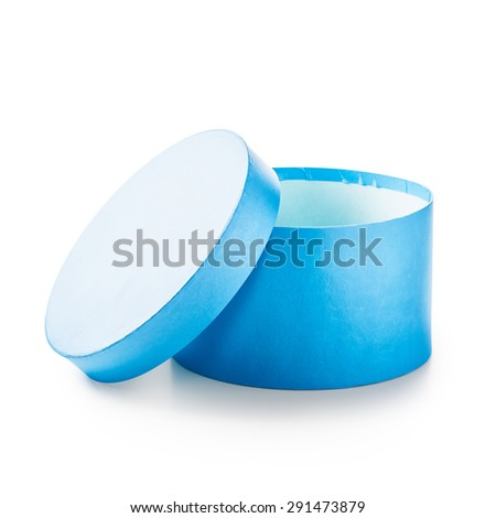 Open blue round gift box. Holiday present. Object isolated on white background. Clipping path  - stock photo