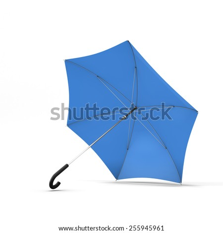 Open blue umbrella isolated on a white background. 3d render image. - stock photo