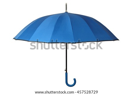 Open blue umbrella isolated on white background - stock photo
