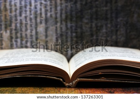 Open book against grunge background