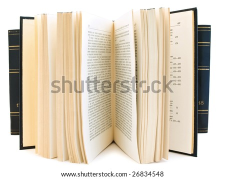 open book against the books row at the white background - stock photo