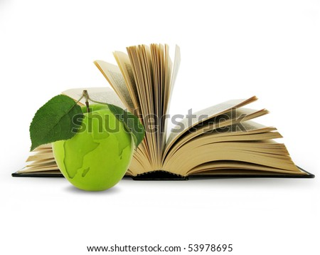 Open Book and globe in green apple. Concept education - stock photo