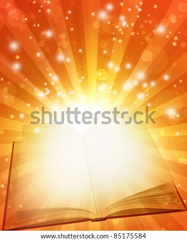 Open book and magical background - stock photo