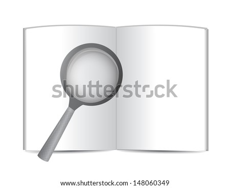 open book and magnify glass. illustration design over white - stock photo