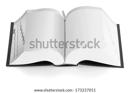 Open book big size color black and white isolated on white background - stock photo
