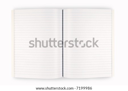 Open book : blank school writing book isolated on white background with shadow.  Space for copy.