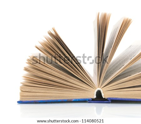 open book close-up isolated on white background