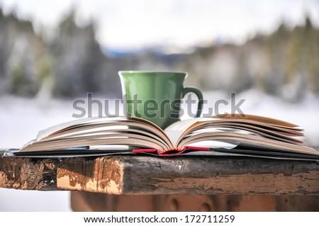 Open book & coffee mug outdoors  - stock photo