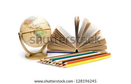 open book, globe and pencils of different colors isolated on white background - stock photo