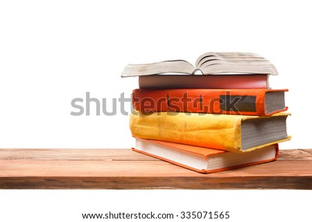 Open book, hardback books on wooden wooden shelf isolated on white background. Back to school. Copy space for text - stock photo