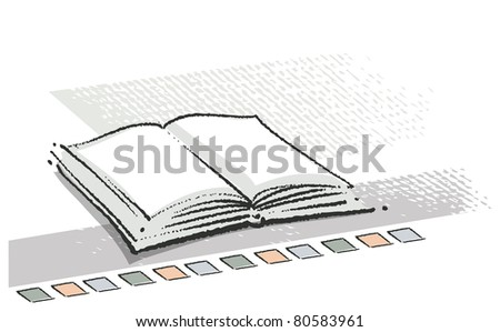 Open book icon (chalk freehand technique, textured grunge style)  (raster version) - stock photo