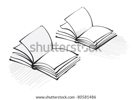 open book icon (freehand calligraphic style)  (raster version) - stock photo