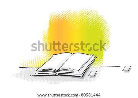 Open book icon (freehand drawing, chalk technique)  (raster version) - stock photo