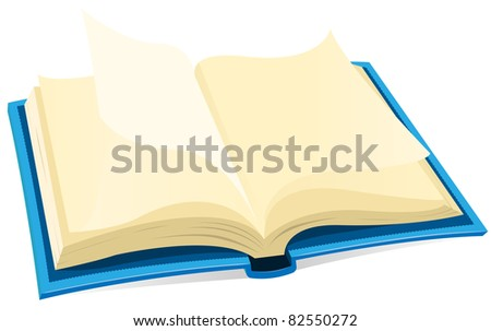 Open Book Icon/ Illustration of a blue covered open book with blank pages