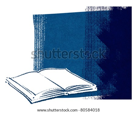 Open book icon on grunge canvas background (blank space for text) - raster version - stock photo