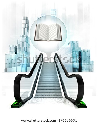 open book in bubble above escalator leading to city concept illustration - stock photo