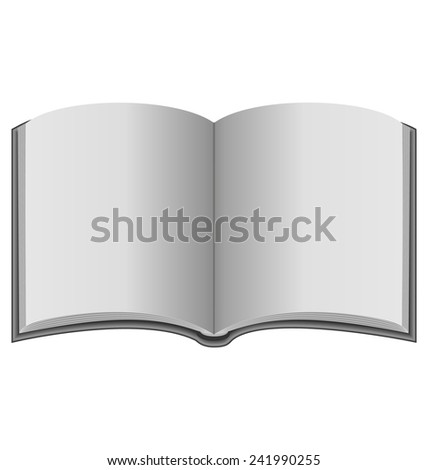 Open book in grayscale colors isolated on white background - stock photo