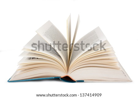 Open book isolated against a white background. - stock photo