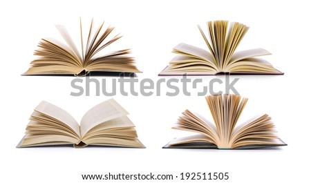 Open book, isolated on white  - stock photo