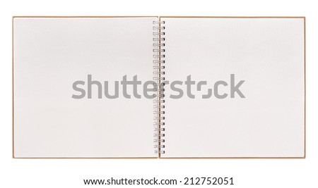 open book isolated on white background. notebook with spiral binder - stock photo