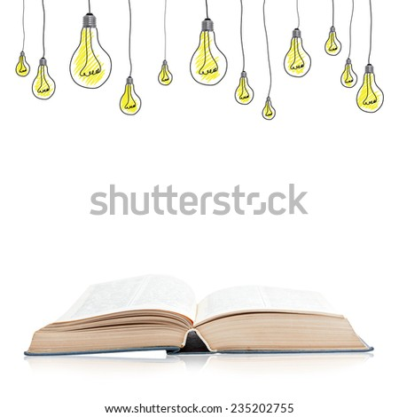 Open book isolated on white background with reflection and light bulbs - stock photo