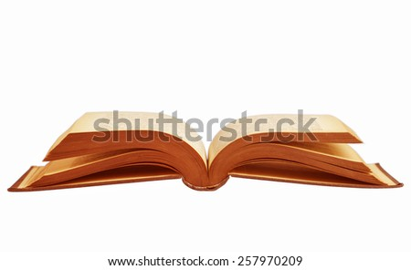 Open book isolated on white surface.