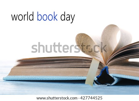 Open book isolated on white. World Book Day poster - stock photo