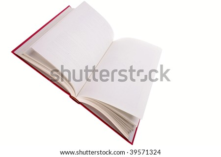 Open book isolated over white background. Blank pages. - stock photo