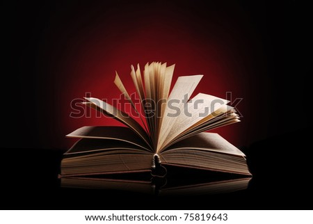 Open book on a dark red background - stock photo
