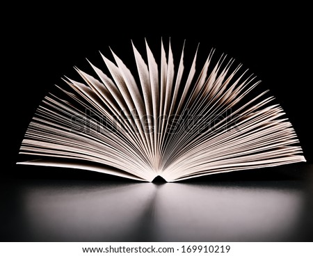 Open book on a reflective surface  - stock photo