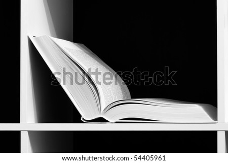Open book on a shelf - stock photo