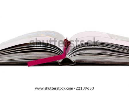 Open book on a white background - stock photo