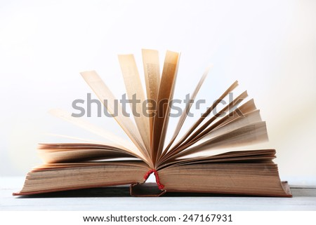 Open book on blurred bright background