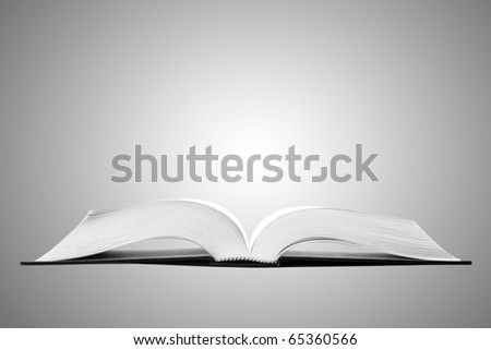 Open book on soft background gray