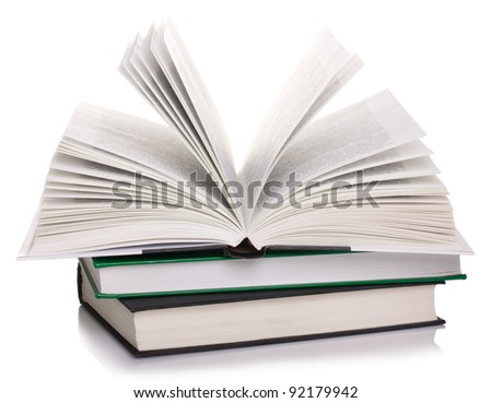 open book on stack books isolated on white - stock photo