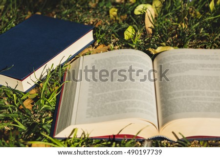 Open book on the grass with closed books on the background.