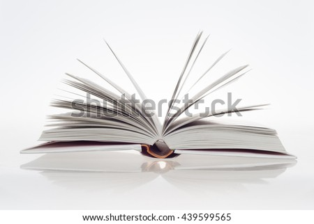 open book on white background - stock photo