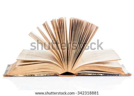 open book on white background. old book