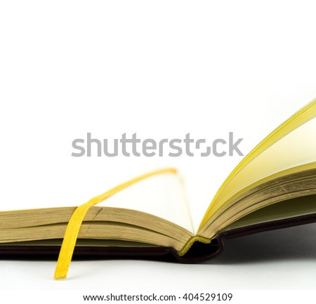 open book on white background / Open notebook with white lined pages isolated on white background.