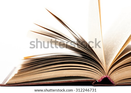 open book on white background. studio shot